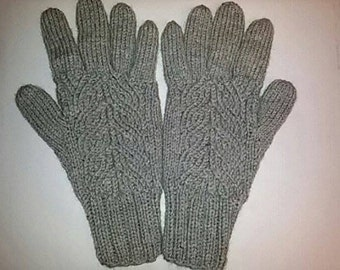 Hand knitted wool gloves with fingers/ wool gloves/ winter gloves/ hand warmers / fingerless/ fingered on/ handmade