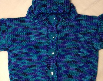 12-18 Month Infant Baby Cardigan Sweater - Blue/Green/Teal Multi-color