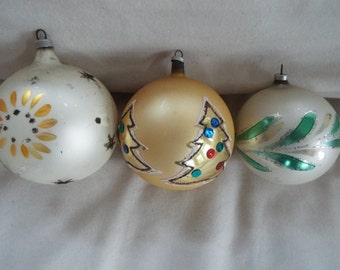 "3 Austria gold and silver  mercury glass ornaments 3"""