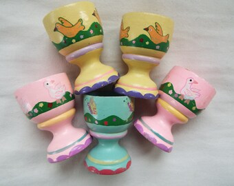 lot of 5 hand painted wood egg cups  pastels hand turned rainbow egg cups