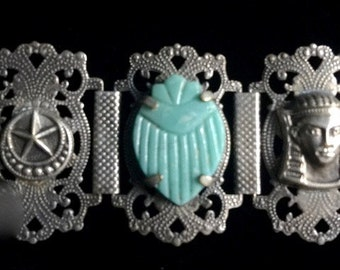 Exotic Middle Eastern Silver and Turquoise Goddess Scarab Bracelet