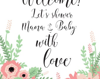 Baby Shower Welcome - Scripty Floral Collection
