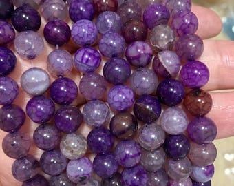 8mm Striped Agate Gemstone Beads - Purple  Striped Agate - 14.5 inch Full strand - Round Gemstone Beads