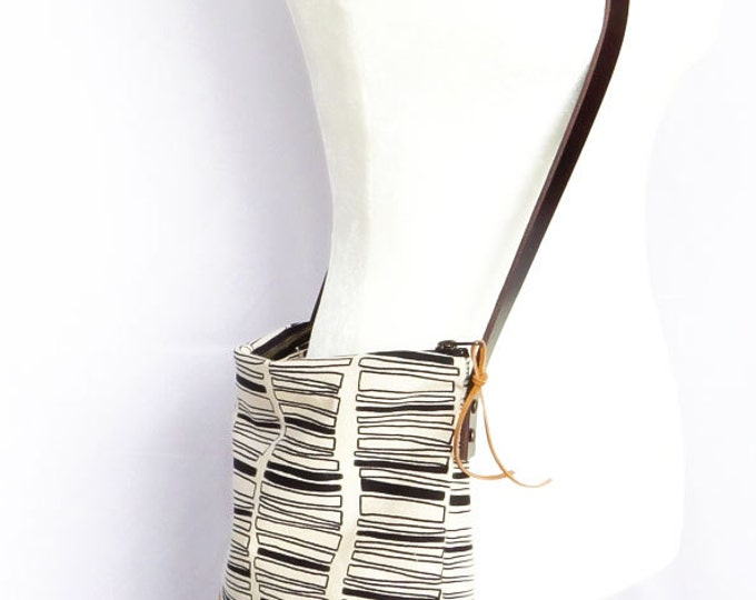 Hand Printed Crossbody With Tan Waxed Leather - Stacked Rectangles