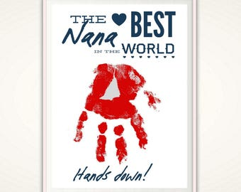 Nana Gifts - Mother's Day Gifts for Nana, Nana Birthday Gift from Kids, PRINTABLE , Personalized Nana Handprint Art, Sign, From Grandkids