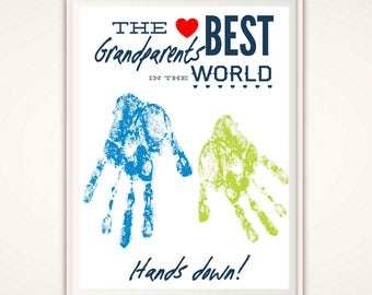 Valentines Gifts for Grandparents, Personalized Grandparent Gift, Valentines Day Gift from Grandkids, PRINTABLE DIY Handprint Art, From Baby
