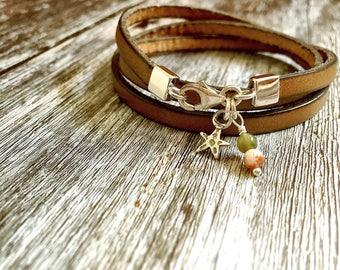 Star/ stones /Leather/ sterling silver/ wrap bracelet