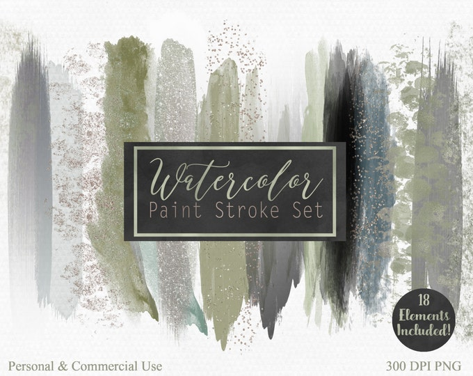 WATERCOLOR PAINT STROKE Clip Art Commercial Use Clipart Watercolour Blog Headers Sage Green Gray Gold Confetti Watercolor Blog Logo Clip Art