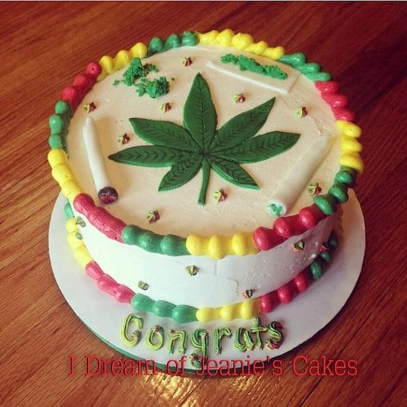 Weed 420 Pot Smoke Birthday Cake Topper