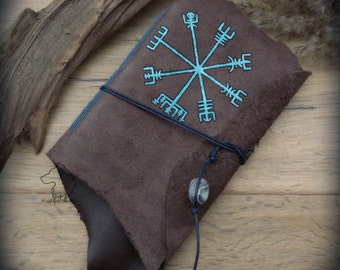 Vegvisir Viking Compass A6 leather journal, softcover hand bound and hand painted, viking rune notebook, norse sketchbook, vikings gift