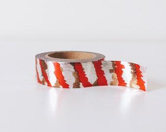 Red, silver adn copper shinny stripe washi tape