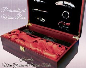 Wine Box, Engraved Wine Set, Personalized Wine Box, Custom Wine Box, Wine Set, Wine Lover Gift, Rosewood Wine Box with Wine Glasses & Tools