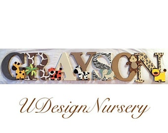 Safari Themed Wooden Wall Letters - Nursery Decor - Jungle Nursery - Baby Shower Decor - Safari Theme - Nursery Letters