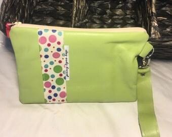 Green leather wristlet set