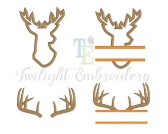 Set of 4 Deer Machine Embroidery Designs, Deer Head Applique Designs, Deer Antlers Machine Embroidery Designs 0073