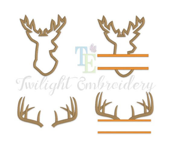 Set of deer machine embroidery designs head applique