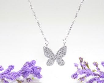 Large Butterfly Necklace Cz 925 Silver Yellow Rose Gold