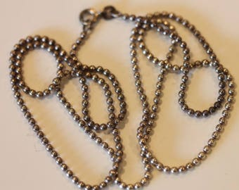 Sterling silver beaded chain necklace 24""