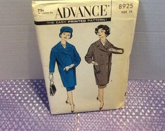 Vintage 1950s Advance , the easy printed pattern - pattern 8925 -size 16 coat and skirt pattern, a nice timeless pattern.