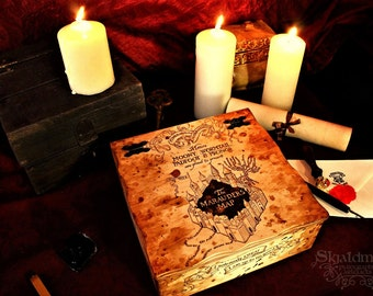 Harry Potter Marauder's Map Pyrography Wooden Box