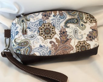 Brown and Blue Paisley wristlet
