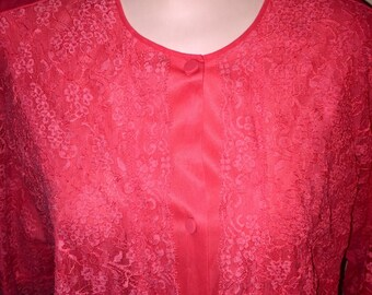 Vintage red Vanity Fair bed jacket w/ lace overlay, Sz 36