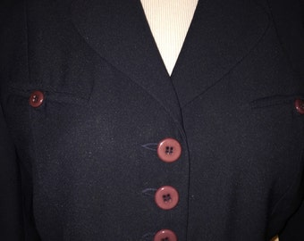 Vintage San Louis (Paris) dark navy blazer Jacket Sz 8