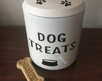 Dog treat canister, vintage metal canister from the 1950's, upcycled with spray paint and vinyl die cut letters.