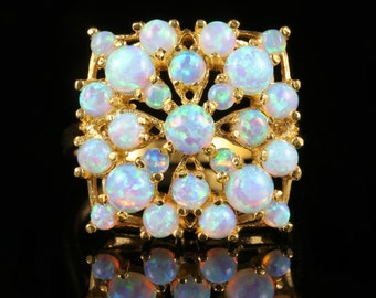 Opal Cluster Ring 18ct Gold On Silver