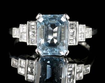 Art Deco Aquamarine Diamond Ring Platinum Princess Cut Diamonds 3.20ct Emerald Cut Aquamarine