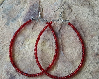 Beaded handmade  simple stylish minimalist fashion wedding bridesmaid  dance party elegant trendy spring dance red silver big  hoop earrings
