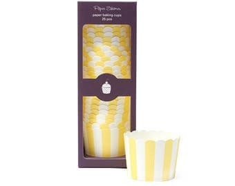 Baking Cups   Yellow Stripe Baking Cups   Premium Quality Paper Baking Cups   Snack Cups   Candy Cups   Party Supplies   The Party Darling