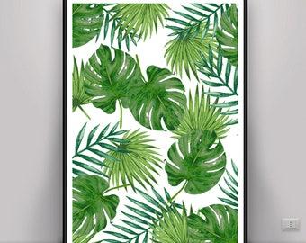 Tropical Leaf Print, Banana Leaf Print, Palm Leaf Poster, DIGITAL ART, DOWNLOAD Pictures, Palm Leaf Prints, Palm Leaf Wall Art