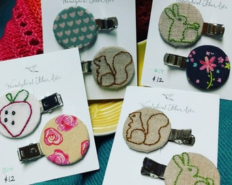 Embroidered Fabric Round Hair Clips - Woodland Animals