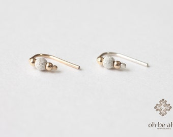 Tiny Stardust Silver and  gold  beads ear pins - Sterling Silver& 14kt gold filled, ear climber,ear studs- Minimal