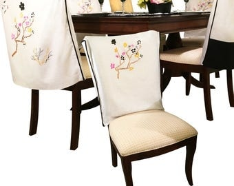 White Linen Chair Covers Dining Room Slipcovers For