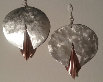 Unique Mixed Media Earrings Copper and Aluminum