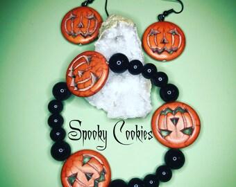 Halloween Jackolantern Bracelet and Earring Set