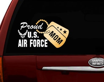 """Proud US Air Force Mom Vinyl Car Decal Sticker 7.5""""(W) w/ Gold Military Dog Tag"""