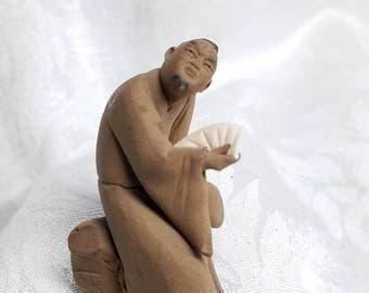 Vintage Chinese Miniature Mud Man Figurine Hand sculpted Mudman Figure with Fan Bonsai Terrarium Pottery Figurine, Asian Male Pottery Figure