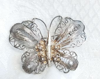 Vintage Silver Filigree Butterfly Pin,  Vintage Butterfly Brooch with flowers, Silver Tone Filigree Brooch, Vintage Jewelry