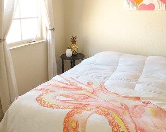 Orange Octopus Throw Blanket