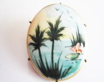 Vintage Enamel Painted Pin