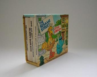 Sesame Street Books//Little Library//Kid's Book Set//Big Bird Grover Bert and Ernie//Muppets//1977