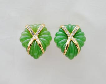 Lanvin - Golden brass - vintage crystals - faux jade earrings
