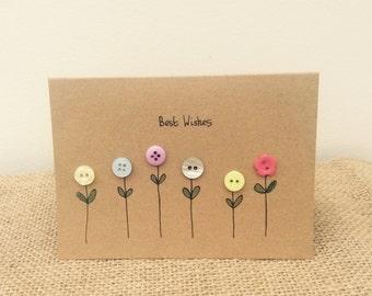 Garden Button Flowers Greetings Card