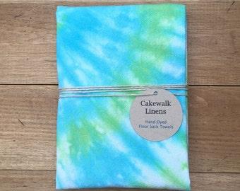 Tea Towel, Tie Dye Towel with Spiral Design, Blue and Green Kitchen Towel, Flour Sack Towel