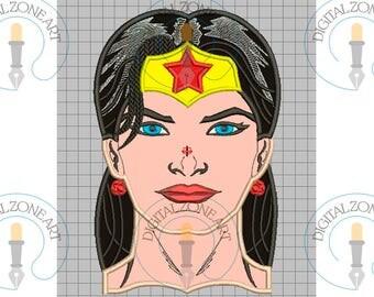 Wonder Women Applique-Wonder Women Portrait Head-Marvel-Super Hero-Comics- Machine Embroidery Designs - INSTANT DOWNLOAD