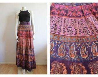 Rare Full length heavy cotton Indian 70's Wrap skirt