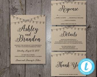 Wedding Invitation Template Set, Printable Wedding Invitation Suite, Printable Invitation Set, DIY Wedding Invites, Easy to Edit Calligraphy